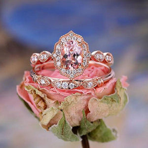 Hellojewelr Rose Gold Vintage Art Deco Halo Milgrain 3.0 Carat Pink Sapphire Oval Cut Wedding Set