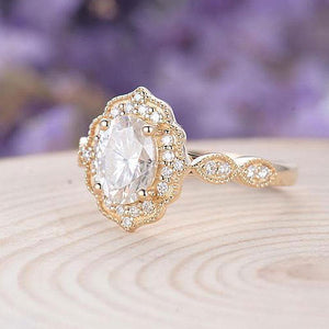 Hellojewelr Yellow Gold Vintage Art Deco Halo Milgrain 2.0 Carat Oval Cut White Stone Engagement Ring3