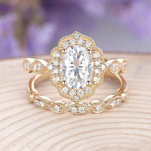 Hellojewelr Yellow Gold Vintage Art Deco Halo Milgrain 3.0 Carat Oval Cut White Stone Wedding Set