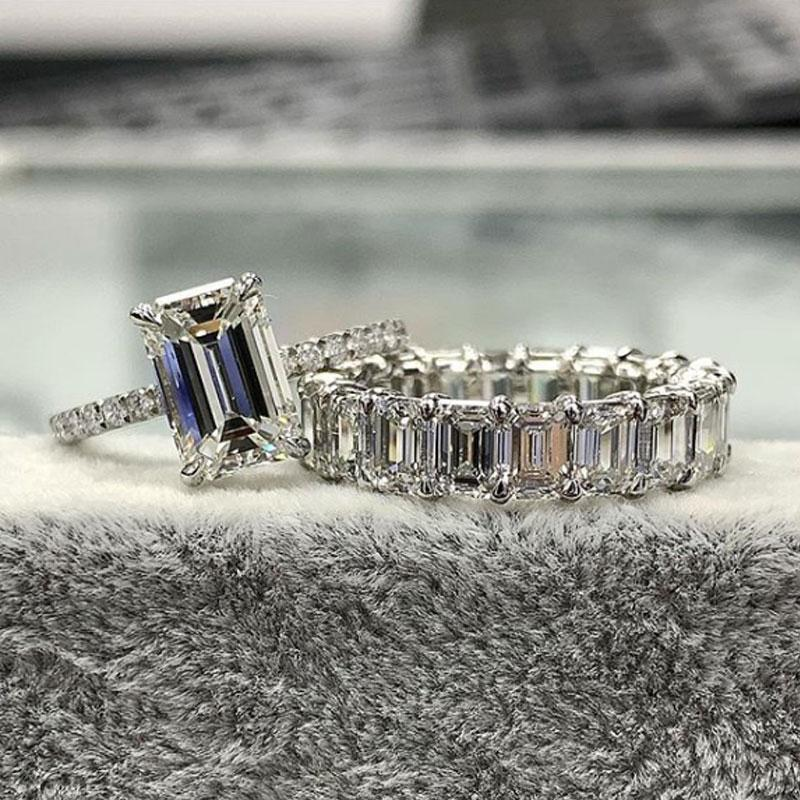 Hellojewelr Sterling Silver 5.0 Carat Emerald Cut Bridal Set