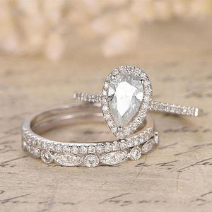 Hellojewelr Sterling Silver 3.0 Carat Pear Cut 3PC Wedding Bridal Set