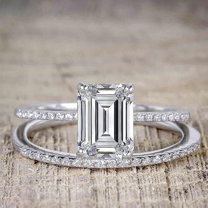 Hellojewelr Sterling Silver 3.0 Carat Emerald Cut Women's Bridal Set