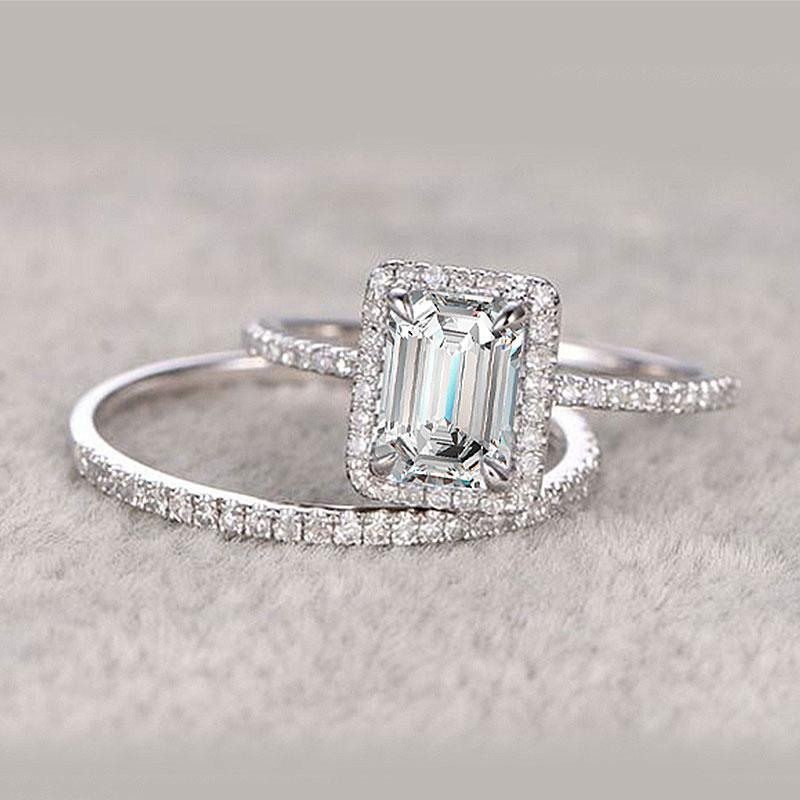 Hellojewelr Sterling Silver Halo 5.0 Carat Emerald Cut Women's Bridal Set