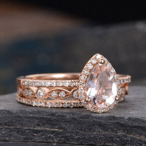 Hellojewelr Rose Gold 1.5 Ct Champagne Stone Pear Cut Stacking Ring Set