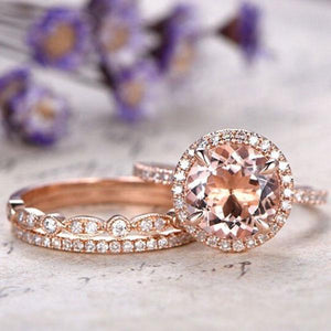 Hellojewelr Rose Gold 1.5 Ct Round Cut Champagne Stone 3PC Ring Set