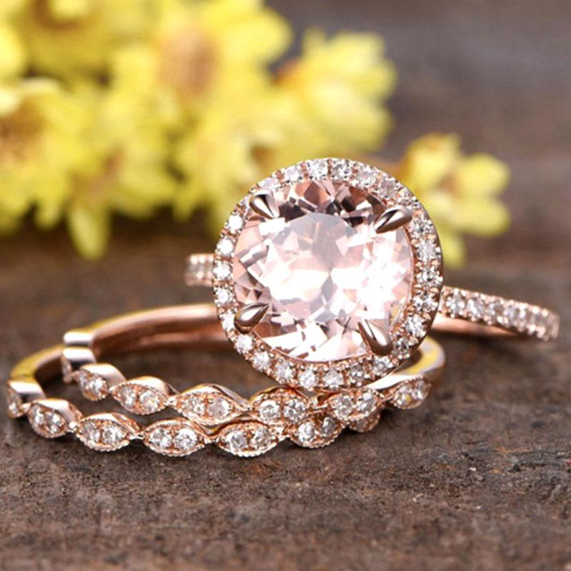 Hellojewelr Rose Gold 1.5 Ct Round Cut 3PC Champagne Stone Ring Set