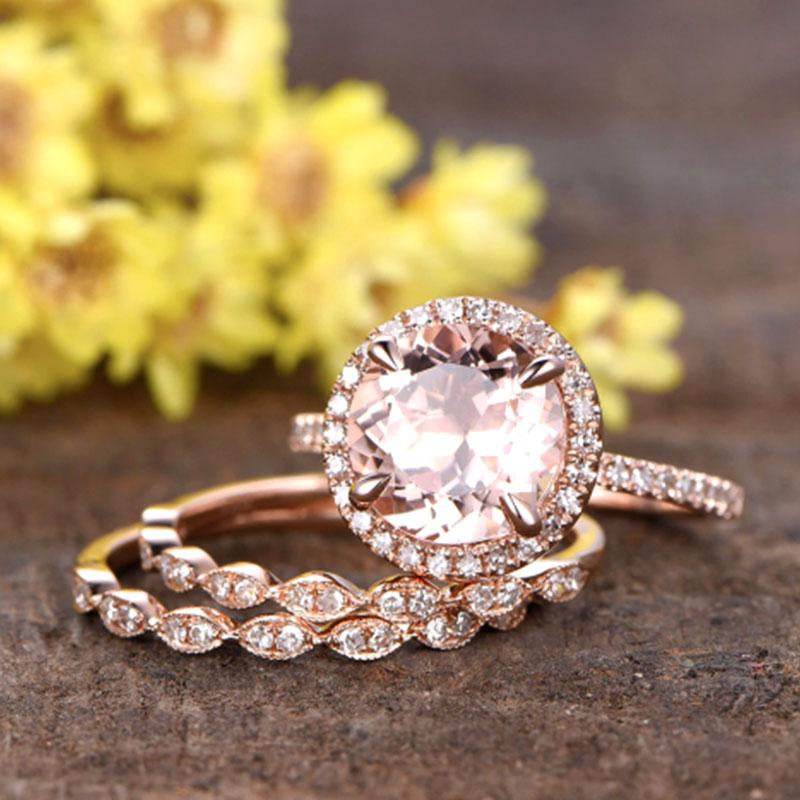 Hellojewelr Rose Gold 2.0 Carat Round Cut 3PC Champagne Stone Ring Set