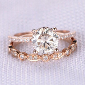 Hellojewelr Rose Gold 2.0 Ct Round Cut Art Deco Women's Ring Set