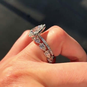 Hellojewelr Unique 3.0 Carat Pear Cut Halo Wedding Set In Sterling Silver