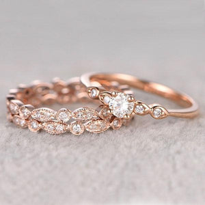 Hellojewelr Rose Gold Simple 1.0 Carat Round Cut 3PC Wedding Ring Set