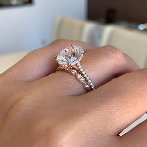 Hellojewelr Rose Gold 3.0 Carat Oval Cut Wedding Set