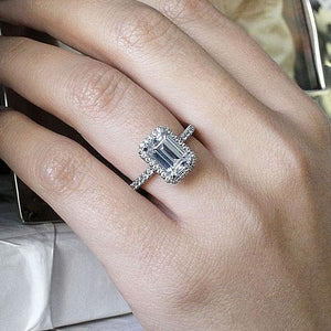 Hellojewelr Sterling Silver Halo 2.0 Ct Emerald Cut Engagement Ring