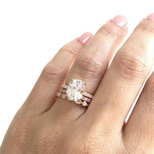 Hellojewelr Rose Gold 3.0 Carat Oval Cut 3PC Wedding Ring Set