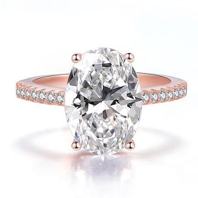 Hellojewelr Rose Gold 4.0 Carat Oval Cut White Stone Engagement Ring