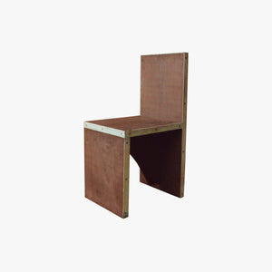 Patinated brass & wenge chair