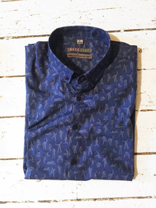 SARA MAESE SS Button-Down Shirt- NAVY