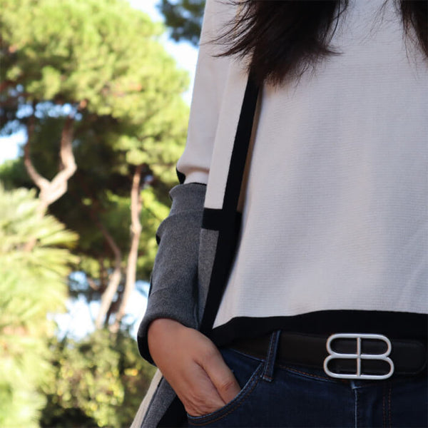 Liana reversible belt black brown gold vegan leather, vegan belt, unisex belt