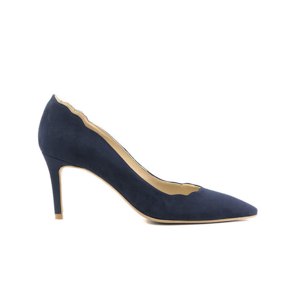 Belladone navy vegan stiletto made with vegan suede leather - Belladone stiletto navy in cuoio vegano scamosciato - Belladone escarpins navy en cuir végan suédé