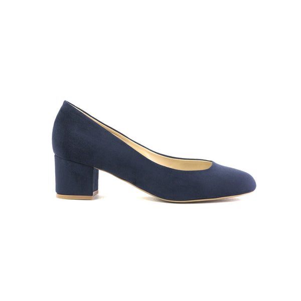 Carlina navy ballerina made with suede vegan leather - Carlina ballerina navy in cuoio vegano scamosciato - Carlina ballerines à talons navy en cuir végan suédé