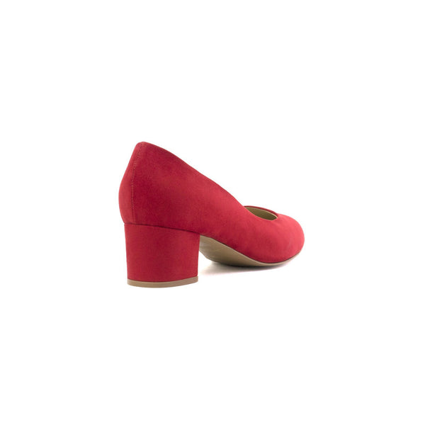 Carlina red ballerina made with suede vegan leather - Carlina ballerine rosse in cuoio vegano scamosciato - Carlina ballerines à talons rouges en cuir végan suédé