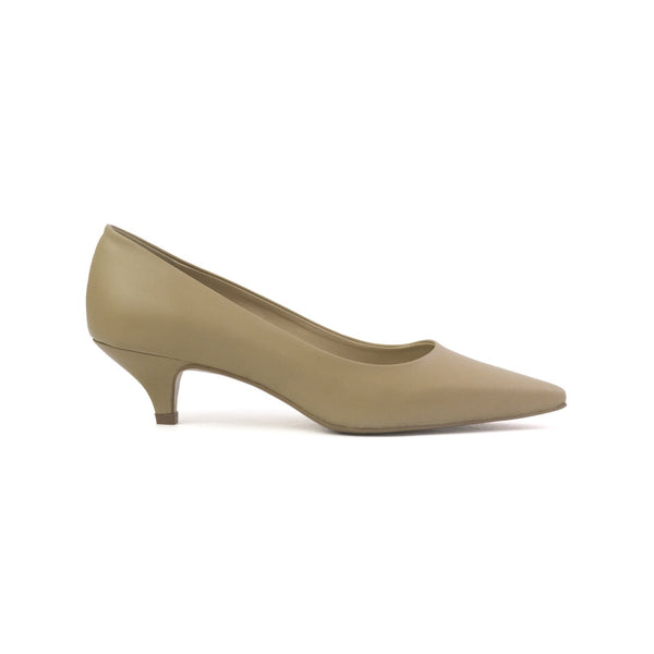 Daphne beige vegan kitten heels made with smooth vegan leather
