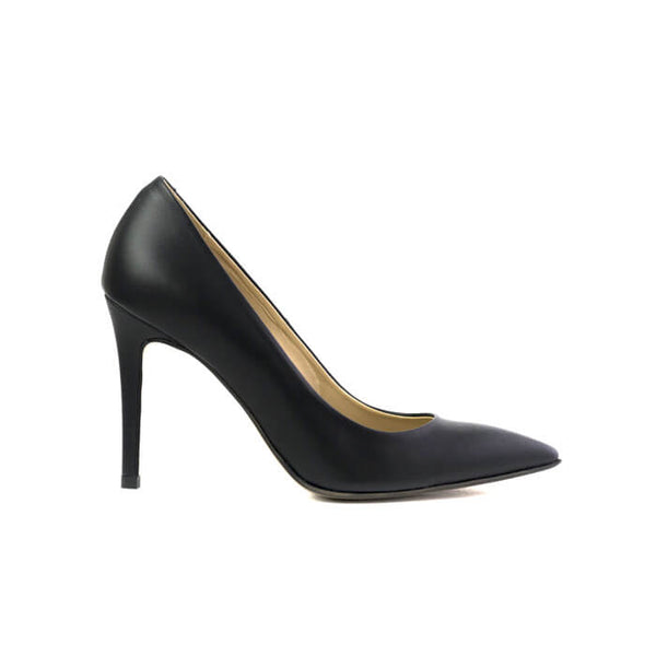 Galatella black stiletto made with smooth vegan leather - Galatella stiletto nero in cuoio vegano liscio - Galatella escarpins noirs en cuir végan lisse
