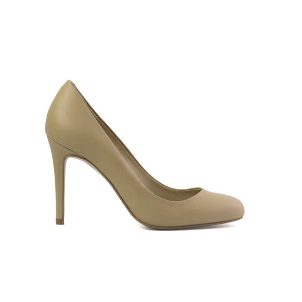 Paradisea beige stiletto with an almond toe made with smooth vegan leather - Paradisea stiletto beige punta a mandorla in cuoio vegano liscio - Paradisea escarpins beiges bout rond en cuir végan lisse
