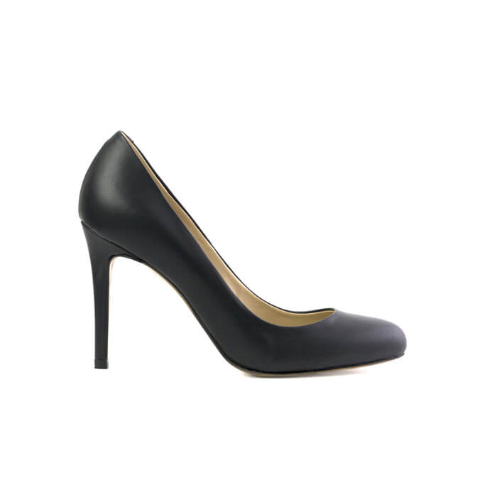 Paradisea black stiletto with an almond toe made with smooth vegan leather - Paradisea stiletto nero a punta a mandorla in cuoio vegano liscio - Paradisea escarpins noirs à bout rond en cuir végan lisse