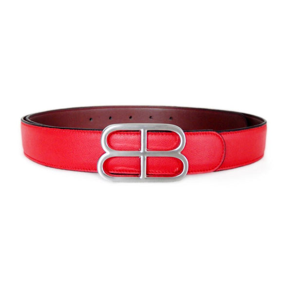 Liana reversible belt red brown vegan leather