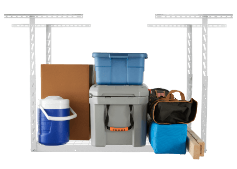 An Overhead GearLoft™ Storage Rack fully loaded with storage bins, boxes and other supplies.