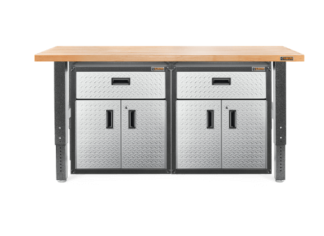 A 6' Hardwood Workbench with two ¾-Door Modular Gearboxes placed neatly underneath.