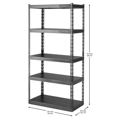 "4 of 6 images - 36"" Wide EZ Connect Rack with Five 18"" Deep Shelves (thumbnails)"