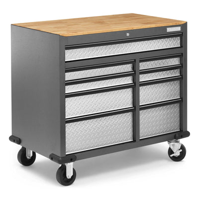 3 of 9 images - Premier 41 inch 9-drawer Mobile Tool Workbench with Solid Wood Top (thumbnails)