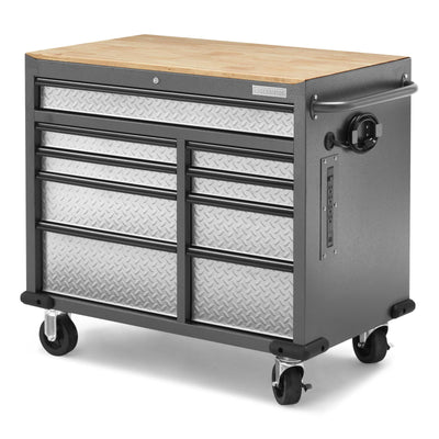 2 of 9 images - Premier 41 inch 9-drawer Mobile Tool Workbench with Solid Wood Top (thumbnails)