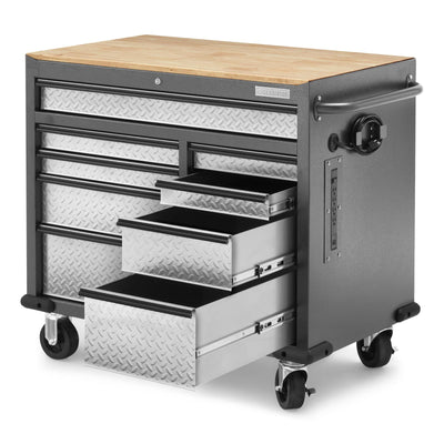 5 of 9 images - Premier 41 inch 9-drawer Mobile Tool Workbench with Solid Wood Top (thumbnails)
