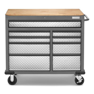1 of 9 images - Premier 41 inch 9-drawer Mobile Tool Workbench with Solid Wood Top (thumbnails)