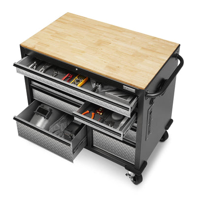 6 of 9 images - Premier 41 inch 9-drawer Mobile Tool Workbench with Solid Wood Top (thumbnails)