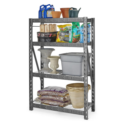 "4 of 4 images - 48"" Wide Heavy Duty Rack with Four 18"" Deep Shelves (thumbnails)"