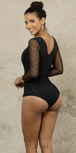 Black bodysuit with moderate compression