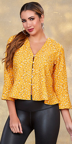 Button down floral print blouse