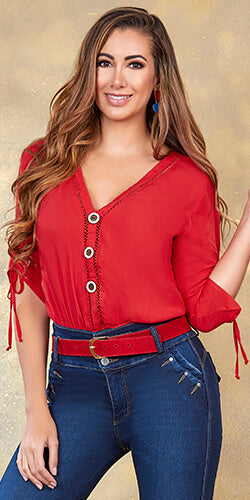 Red loose blouse made in colombia