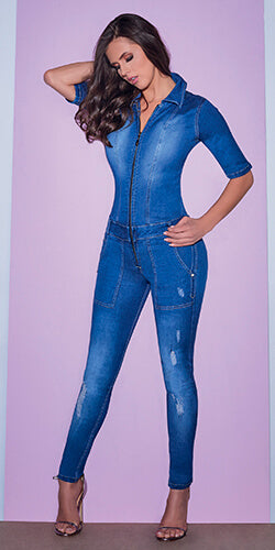 One piece jumper jean stretch light wash