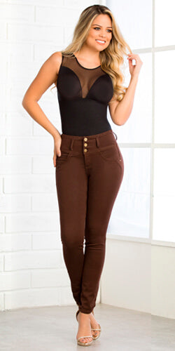 Modern brown skinny jeans made in colombia butt lifting