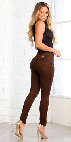 Brown skinny stretch jeans