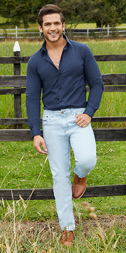 Light blue jeans for men straight leg made in colombia