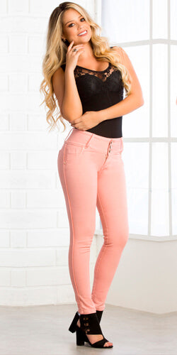 Pink jeans made in colombia stretch butt lifting body shaper skinny