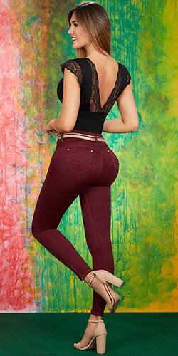 Butt lift red wine jeans made in colombia