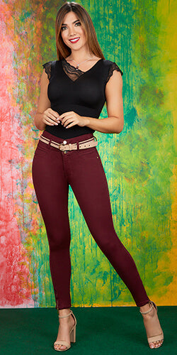 Red wine stretch jeans
