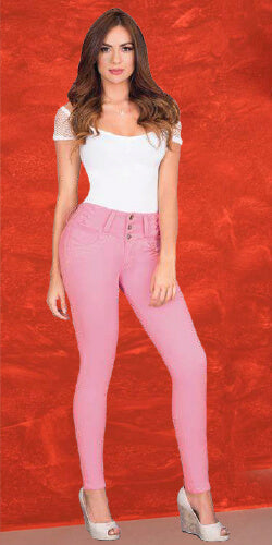 Pink stretch jeans made in colombia bodysahper