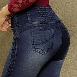 Butt lift jeans embroidered details made in colombia